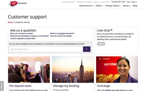 Screenshot of Support Page virginholidays.co.uk - Virgin Holidays - Customer Support - captured Nov. 4, 2016