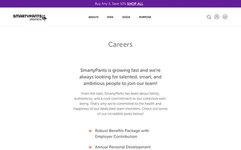 Screenshot of Jobs Page smartypantsvitamins.com - Careers                      – SmartyPants Vitamins - captured May 19, 2019