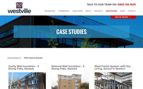 Screenshot of Case Studies Page westvillegroup.co.uk - Case Studies - Westville Group - captured Nov. 29, 2016