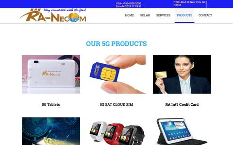 Screenshot of Products Page ra-necom.com - Our 5G Products - captured Sept. 21, 2018