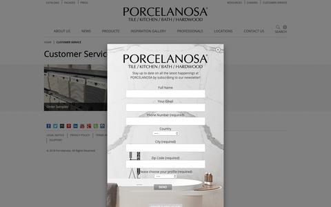Screenshot of Support Page porcelanosa-usa.com - Customer Service | Porcelanosa - captured Sept. 28, 2018