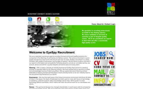 Screenshot of Home Page eyespyrecruitment.com - EyeSpy Recruitment | Jobs | Careers | Advice - captured Sept. 30, 2014
