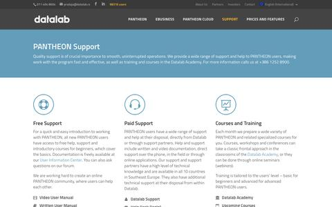 Screenshot of Support Page datalab.eu - Support - - captured Jan. 6, 2018
