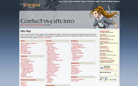 Screenshot of Site Map Page dlnexus.com - Dragonlance Nexus: Site Map - Contact Us & Site Information - captured June 11, 2016