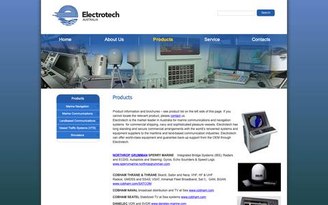 Screenshot of Products Page electrotech.net.au - Products - Electrotech Australia - captured Sept. 27, 2018