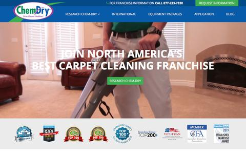 Screenshot of Home Page chemdryfranchise.com - Own a Carpet Cleaning Franchise » Chem-Dry Franchise - captured Aug. 20, 2019