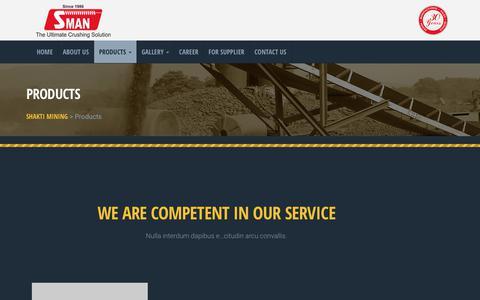 Screenshot of Products Page shaktimining.com - Products - Shakti Mining - captured Oct. 18, 2018