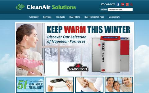 Screenshot of Home Page cleanairsolutionshamilton.ca - Clean Air Solutions - captured Nov. 21, 2017