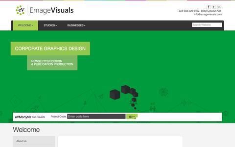 Screenshot of Home Page emagevisuals.com - Welcome - Emage Visuals - captured Dec. 9, 2015