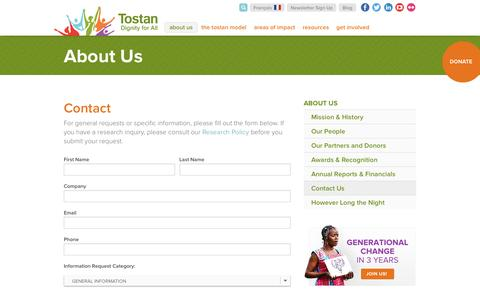 Screenshot of Contact Page tostan.org - Contact | Tostan - captured Feb. 23, 2016