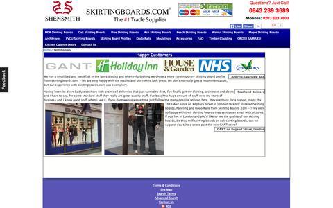 Screenshot of Testimonials Page skirtingboards.com - Testimonials - captured Oct. 26, 2014