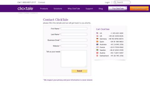 Screenshot of Contact Page clicktale.com - Contact Us - captured July 20, 2014