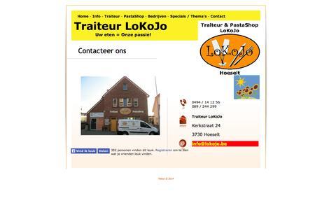 Screenshot of Contact Page lokojo.be - Contact - captured Sept. 30, 2014