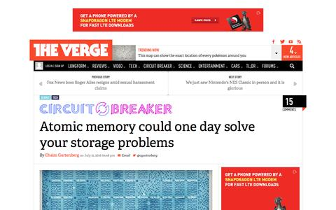 Screenshot of theverge.com - Atomic memory could one day solve your storage problems | The Verge - captured July 23, 2016