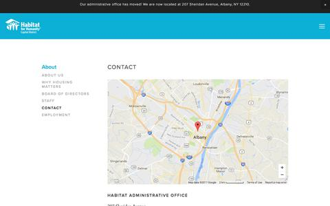 Screenshot of Contact Page habitatcd.org - Contact — Habitat for Humanity Capital District - captured July 11, 2017