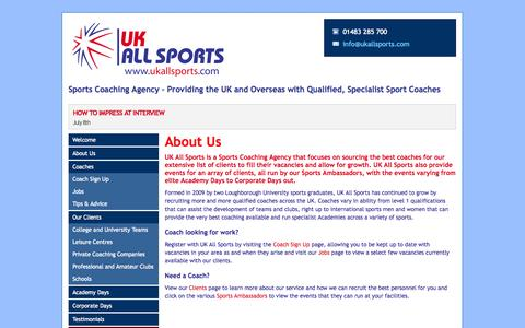 Screenshot of About Page ukallsports.com - Sports Coaching Agency – Providing the UK and Overseas with Qualified, Specialist Sport Coaches - UK All Sports - captured Sept. 30, 2014