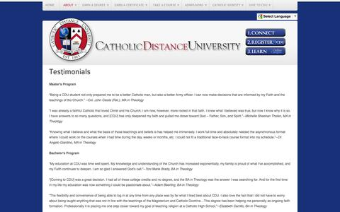 Screenshot of Testimonials Page cdu.edu - Testimonials - captured Nov. 1, 2014
