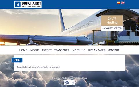 Screenshot of Jobs Page borchardt-luftfracht.de - Borchardt Airfreight – Contact - captured Oct. 10, 2017