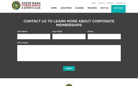 Contact us to learn more about Corporate Memberships - Steve Nash Fitness World and Sports Club | Steve Nash Fitness World and Sports Club