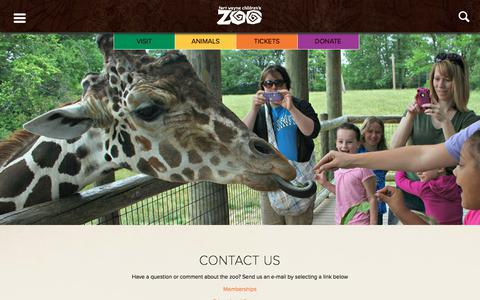 Screenshot of Contact Page kidszoo.org - Fort Wayne Children's Zoo |   Contact - captured June 23, 2017