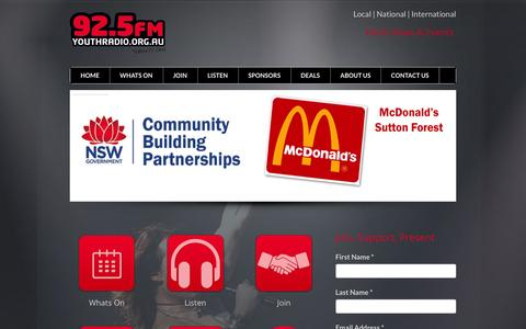 Screenshot of Home Page youthradio.org.au - Home Page - captured Feb. 13, 2016