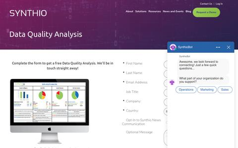 Screenshot of Trial Page synthio.com - Request a free Data Quality Analysis | Synthio - captured Aug. 12, 2019