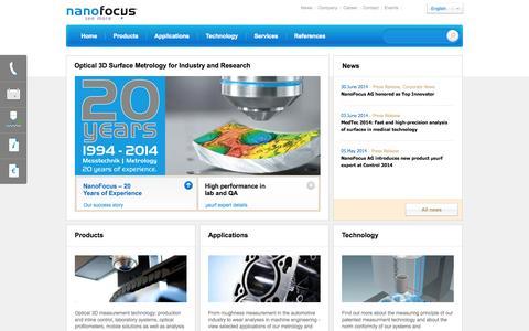 Screenshot of Login Page nanofocus.com - NanoFocus: Optical 3D surface measurement and analysis – roughness measurement, topography measurement, microgeometry - captured Oct. 6, 2014