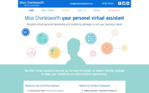Screenshot of Home Page misscharlesworth.com - Virtual assistant home page | Miss Charlesworth | Bespoke virtual personal assistance and marketing packages to suit your business needs - captured Oct. 6, 2014