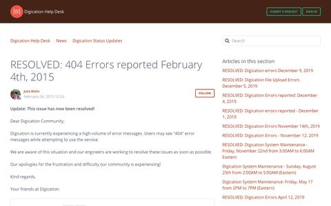 Screenshot of Support Page digication.com - RESOLVED: 404 Errors reported February 4th, 2015 – Digication Help Desk - captured Jan. 8, 2020