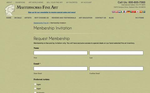 Screenshot of Signup Page masterworksfineart.com - Membership Invitation | Masterworks Fine Art - captured Nov. 27, 2016