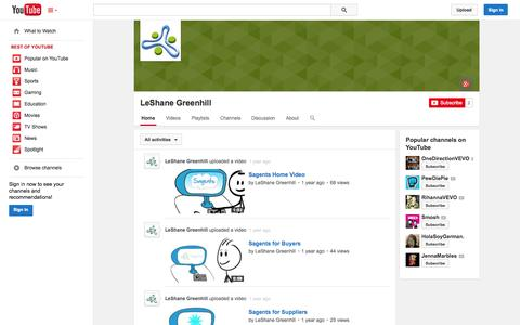 Screenshot of YouTube Page youtube.com - LeShane Greenhill  - YouTube - captured Oct. 23, 2014