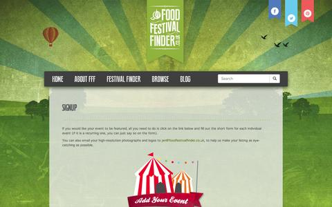 Screenshot of Signup Page foodfestivalfinder.co.uk - Signup | Food Festival Finder - captured Sept. 30, 2014