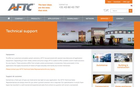 Screenshot of Services Page aftc.eu - AFTC - Technical support - captured Oct. 2, 2018