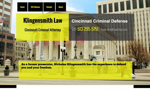 Screenshot of Home Page hklawdayton.com - Cincinnati Criminal Lawyer - Dayton DUI Lawyers - captured Oct. 2, 2014