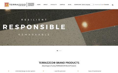 Screenshot of Products Page terrazzco.com - TERRAZZCO® Brand Products: Epoxy Resins, Precast, Aggregates - captured Nov. 16, 2017