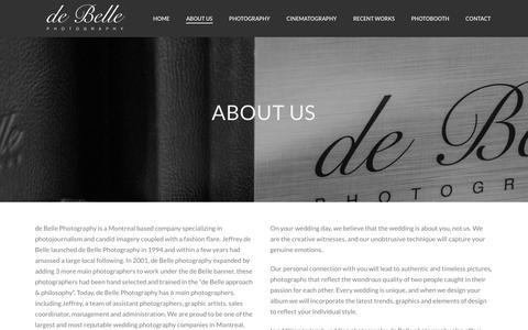 Screenshot of About Page debellephotography.com - About us | de Belle Photography | Montreal Wedding Photography | Montreal Wedding Photographer - captured Jan. 7, 2016
