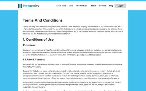 Screenshot of Terms Page memeoirs.com - Memeoirs: A Book With Your Email, Facebook and WhatsApp Conversations | Terms And Conditions - captured Nov. 23, 2015