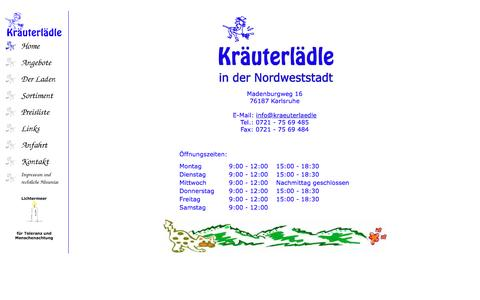 Screenshot of Home Page krtl-ka.de - Kräuterlädle in der Nordweststadt - captured June 10, 2016