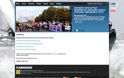 Screenshot of Services Page breatheunity.com - Breathe Unity - Services - captured Oct. 5, 2014