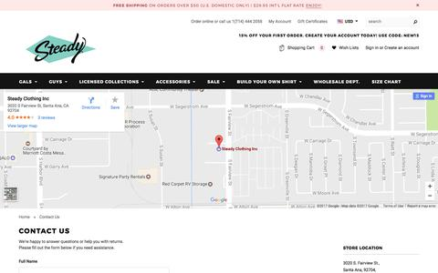 Screenshot of Contact Page steadyclothing.com - Contact Us - captured June 17, 2017