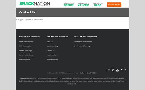 Screenshot of Contact Page snacknation.com - Contact Us - SnackNation - captured Sept. 19, 2014