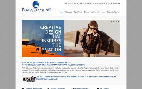 Screenshot of Home Page perfectlandingmedia.com - International Aviation Marketing and Advertising Agency | Perfect Landing Media, LLC - captured Oct. 2, 2014