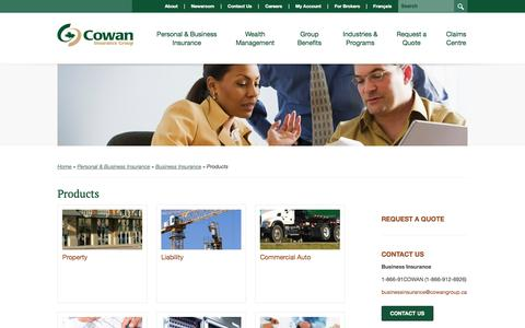 Screenshot of Products Page cowangroup.ca - Products | Business Insurance | Personal & Business Insurance | Cowan Insurance Group - captured Oct. 3, 2014
