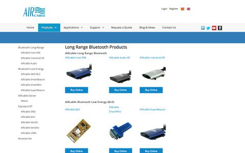Screenshot of Products Page aircable.eu - Long Range Bluetooth Products - captured Oct. 7, 2017