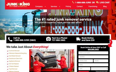 Screenshot of Home Page junk-king.com - North America's Best Junk Removal and Hauling Service | Junk King - captured Jan. 12, 2017