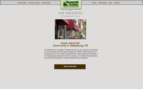 Screenshot of Home Page summithomes.com - Summit Homes – Custom Home Builder | Custom Built Homes in Maryland and Pennsylvania Active Adult Communities - captured Sept. 30, 2014