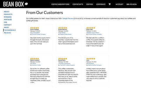 Screenshot of Testimonials Page beanbox.co - Coffee Subscriptions and Gifts from Seattle | Bean Box - captured Feb. 15, 2018