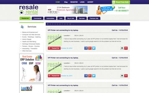 Screenshot of Services Page resalerental.com - Free Classified Sites To Post Services Advertisement - captured Oct. 26, 2014