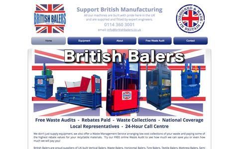 Screenshot of Home Page britishbalers.com - Mill Size Balers from British Balers - captured Jan. 21, 2015