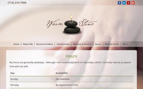 Screenshot of Hours Page warmstonemassage.net - Warm Stone Massage Therapy - captured Oct. 2, 2018